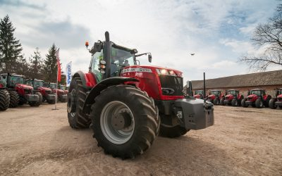 Smykivsi, Ternopil region, Ukraine - March 29, 2019: Presentation of new red tractors Massey Ferguson S 7724 for the Continental agricultural cluster. Agrarians are preparing for the start of the season.